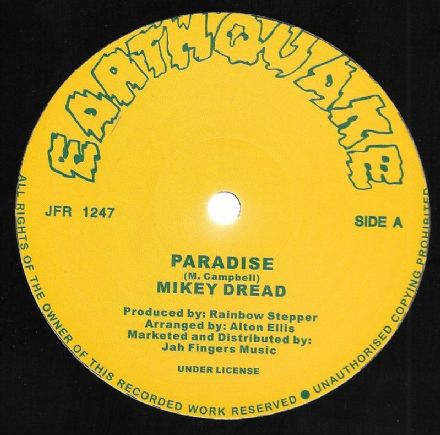Mikey Dread - Paradise / Rainbow Stepper - And Behold (Earthquake / Jah Fingers) 12""